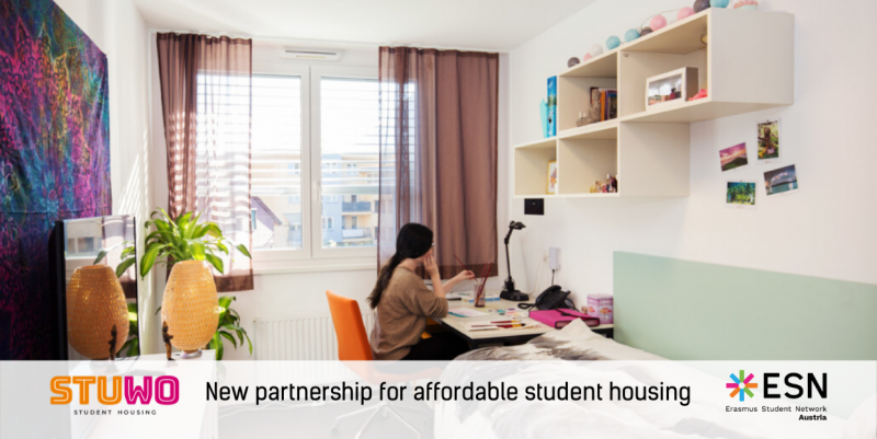 "female student sitting in her student dorm room; ESN and STUWO logos; ""New partnership for affordable student housing"" caption"